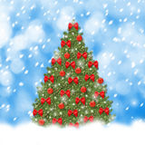 Christmas tree with red balls and beautiful bows. On abstract snowy background Stock Image