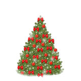 Christmas tree with red balls and beautiful bows. Isolated on white background Stock Photos