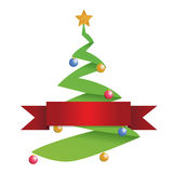 Christmas tree and red banner Stock Images