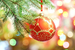 christmas tree and red bauble card Royalty Free Stock Image