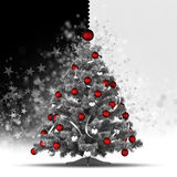 Christmas tree with red baubles. On black and white background Royalty Free Stock Images
