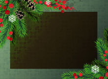 Christmas tree and red berries background Stock Photography