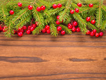 Christmas tree and red berries on the dark background Stock Photo