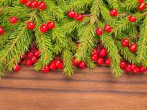 Christmas tree and red berries on the dark background Royalty Free Stock Photography