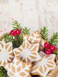 Christmas tree and red berries and star cookies Stock Photography