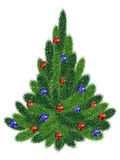 Christmas tree with red and blue balls Stock Image