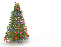 Christmas Tree With Red and Blue Bows Stock Photography