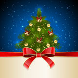 Christmas tree with red bow Royalty Free Stock Photos