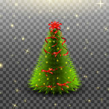 Christmas tree with red bow and ribbons isolated on transparent background. Vector illustration. Royalty Free Stock Images