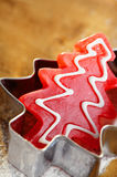Christmas tree red candy in cookie cutter Royalty Free Stock Images