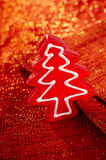 Christmas tree red candy in glitter backdrop Stock Image