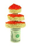 Christmas tree with red caviar and dollar isolated. On white Royalty Free Stock Photo