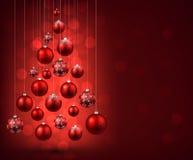 Christmas tree with red christmas balls. Royalty Free Stock Photo