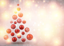 Christmas tree with red christmas balls. Stock Images