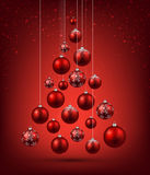 Christmas tree with red christmas balls. Royalty Free Stock Images
