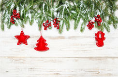 Christmas tree with red decoration. Winter holidays Stock Image