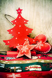 Christmas tree and red decorations Royalty Free Stock Image
