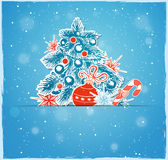 Christmas tree and red decorations Stock Images