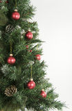 Christmas tree and red decorations Royalty Free Stock Photos