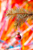 Christmas tree and red glass ball Stock Photo