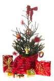 Christmas tree in red and gold Royalty Free Stock Image