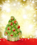 Christmas Tree on Red and Gold Background Royalty Free Stock Image