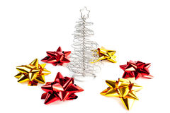 christmas tree with red and gold bows Stock Photography