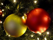 Christmas tree with red and golden balls Stock Photos