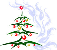 Christmas tree with red and golden balls and star. EPS10 vector illustration Royalty Free Stock Photo