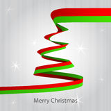 Christmas tree red green ribbon shape Stock Images