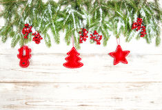 Christmas tree with red handmade toys decoration Royalty Free Stock Image