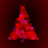Christmas tree, red  lights Royalty Free Stock Image