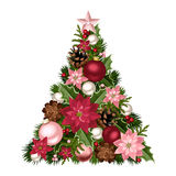 Christmas tree with red and pink decorations. Vector illustration. Vector decorative Christmas tree with red and pink balls, cones, poinsettia flowers and holly Royalty Free Stock Images