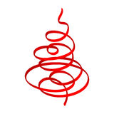 Christmas tree (red ribbon) Royalty Free Stock Image