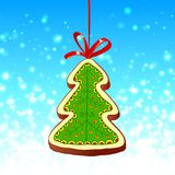 Christmas tree and red ribbon on the blue Royalty Free Stock Image