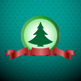 Christmas Tree with Red Ribbon Stock Photography