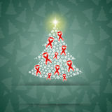 Christmas tree with red ribbons Royalty Free Stock Images