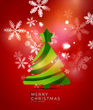 Christmas tree, red shiny abstract background Stock Images