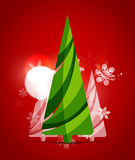 Christmas tree, red shiny abstract background Royalty Free Stock Photos