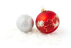 christmas tree red silver balls isolated Stock Photo