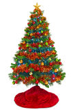 Christmas tree with red skirt isolated on white Stock Photos