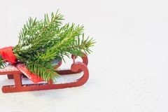 Christmas tree on red sled on a white background. Copy space. Holyday card. Close up. Stock Photos