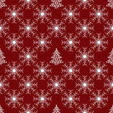 Christmas tree and red snowflake seamless pattern Royalty Free Stock Photography