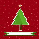 Christmas tree on red snowy background Stock Image