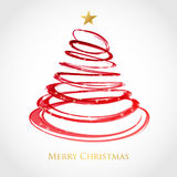 Christmas tree from red spiral with star on top. Christmas card design. Holiday  background Stock Photos