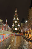 Christmas tree on Red Square, Moscow, by night. Stock Photography