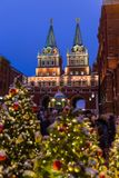 Christmas tree on Red square in Moscow Russia stock photography