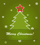 christmas tree with a red star on green Stock Image