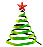 Christmas tree with red star. Made from glass as decorative holiday greeting card Royalty Free Stock Photos