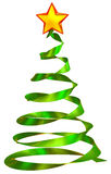 Christmas tree with red star. Made from glass as decorative holiday greeting card Royalty Free Stock Photo